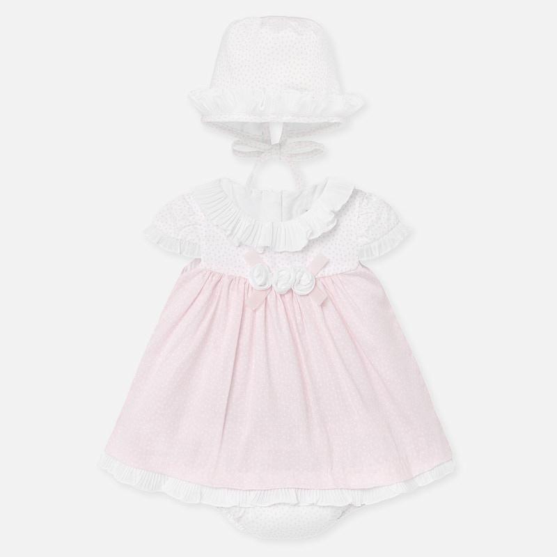 Kleid Häubchen und Höschen Mädchen Neugeborene ...